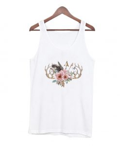 Antlers and flowers tank top