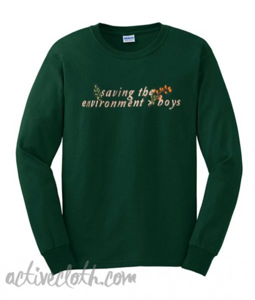 Saving The Environment Boys Green Sweatshirt