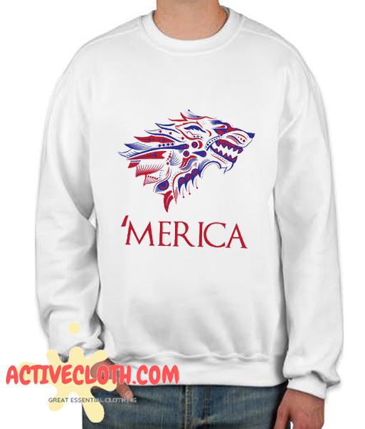 Merica Dire Wolf July Fashionable Sweatshirt
