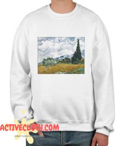 Vincent van Gogh Wheat Field with Cypresses Fashionable Sweatshirt